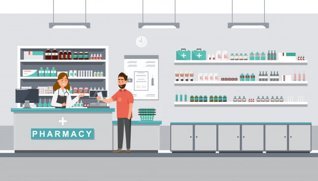 pharmacy with pharmacist client counter 36082 506